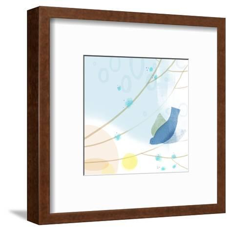 Bluebird on Abstract--Framed Art Print