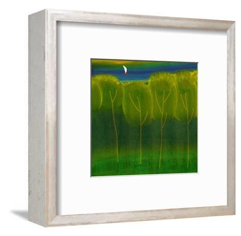 Abstract Trees with Sailboat--Framed Art Print
