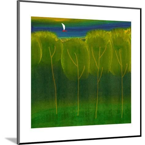 Abstract Trees with Sailboat--Mounted Art Print