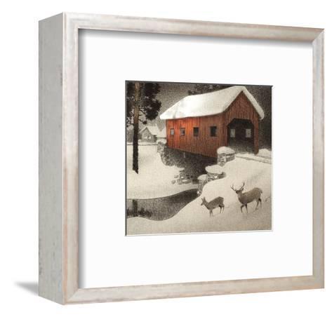 Snow Covered Bridge--Framed Art Print