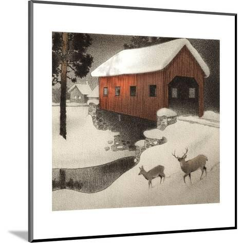 Snow Covered Bridge--Mounted Art Print