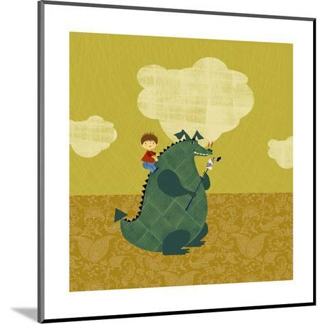 Child on Fire Breathing Dragon--Mounted Art Print