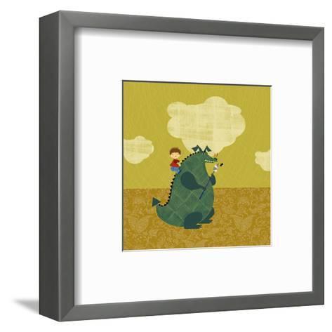 Child on Fire Breathing Dragon--Framed Art Print