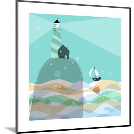 Sailboat Headed to Lighthouse--Mounted Art Print
