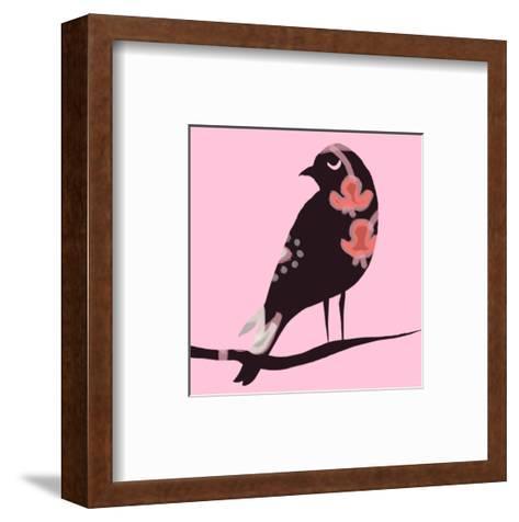 Brown Bird on Pink--Framed Art Print