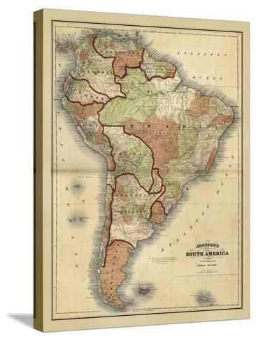 Antique Map of South America-Alvin Johnson-Stretched Canvas Print