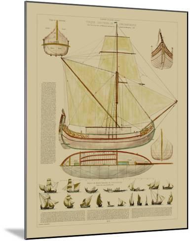 Antique Ship Plan I-Vision Studio-Mounted Art Print