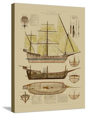 Antique Ship Plan II-Vision Studio-Stretched Canvas Print