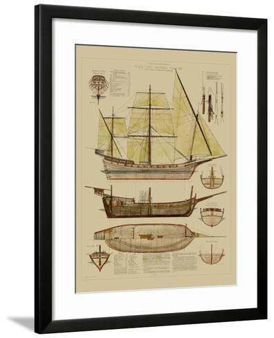 Antique Ship Plan II-Vision Studio-Framed Art Print