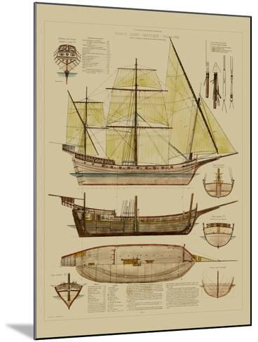 Antique Ship Plan II-Vision Studio-Mounted Art Print