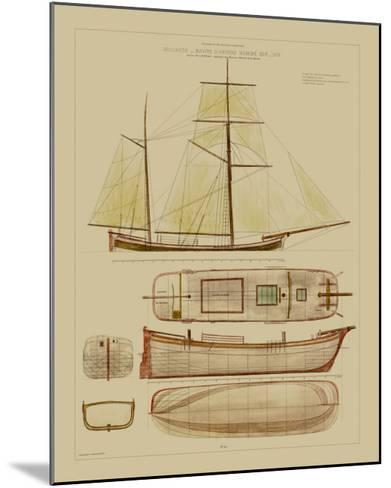 Antique Ship Plan IV-Vision Studio-Mounted Art Print