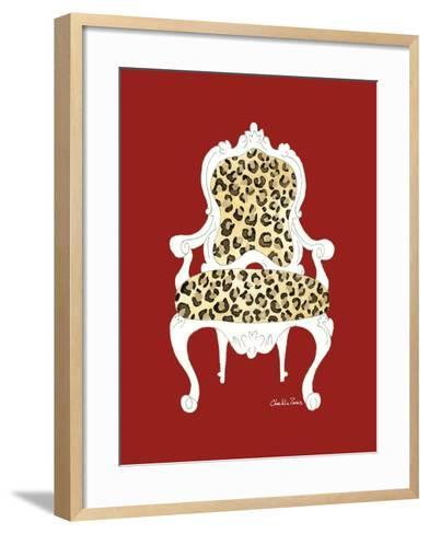 Leopard Chair on Red-Chariklia Zarris-Framed Art Print
