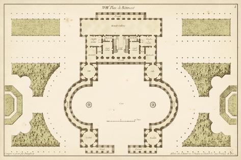 Antique Garden Plan II-Jean Deneufforge-Stretched Canvas Print