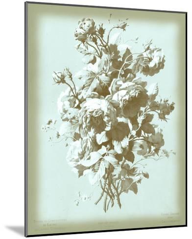 Dussurgey Roses on Blue-Dussurgey-Mounted Art Print
