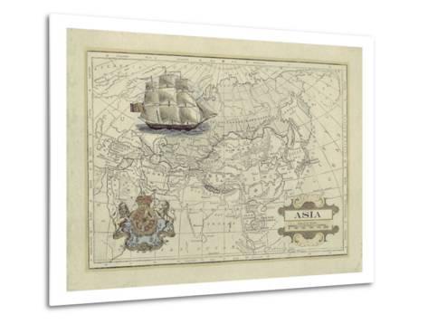 Antique Map of Asia-Vision Studio-Metal Print
