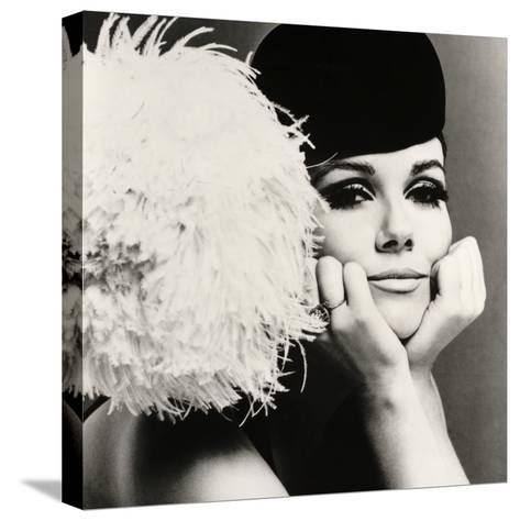 Nicole de la Marge in a Peter Shepherd Velvet Cap, 1965-John French-Stretched Canvas Print