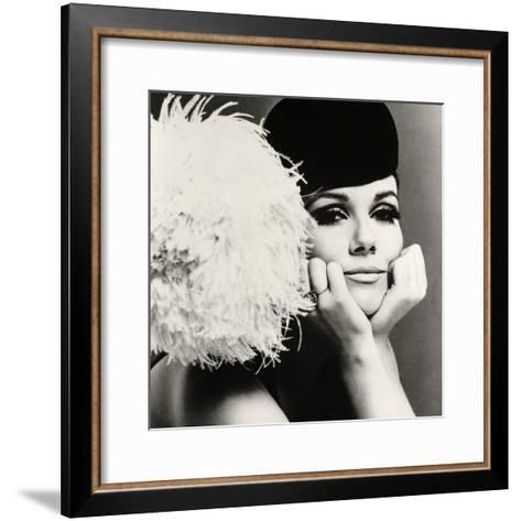 Nicole de la Marge in a Peter Shepherd Velvet Cap, 1965-John French-Framed Art Print