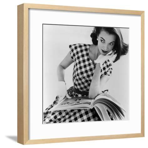 Helen Bunney in a Dress by Blanes, 1957-John French-Framed Art Print