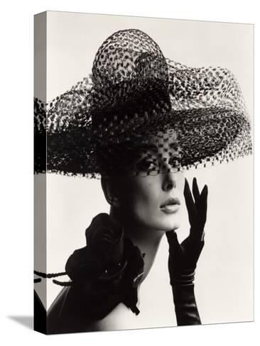 Tania Mallet in a Madame Paulette Stiffened Net Picture Hat, 1963-John French-Stretched Canvas Print