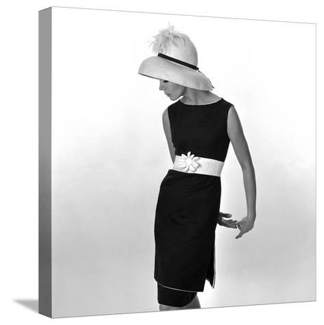 Black Sleeveless Dress with White Belt, 1960s-John French-Stretched Canvas Print