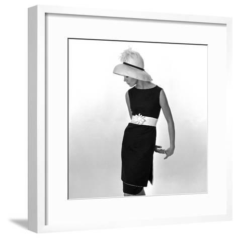 Black Sleeveless Dress with White Belt, 1960s-John French-Framed Art Print