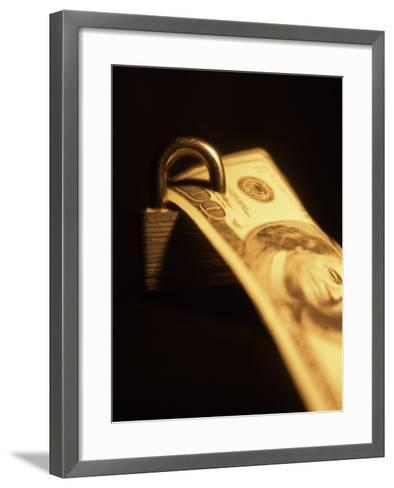 One Hundred Dollar Bill with a Padlock--Framed Art Print