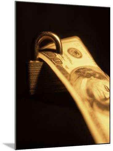 One Hundred Dollar Bill with a Padlock--Mounted Photographic Print