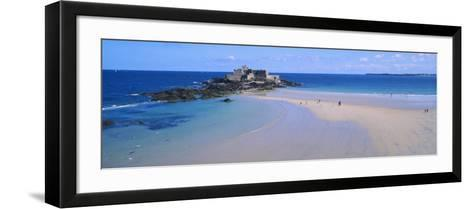 Beach with a Fort in the Background, St-Malo, Brittany, France--Framed Art Print