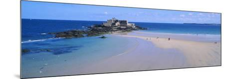 Beach with a Fort in the Background, St-Malo, Brittany, France--Mounted Photographic Print