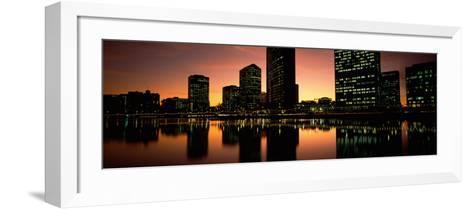 Buildings Lit Up at Dusk, Oakland, Alameda County, California, USA--Framed Art Print