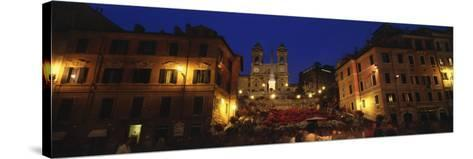 Buildings Lit Up at Night in a City, Spanish Steps, Trinita Dei Monti, Rome, Italy--Stretched Canvas Print