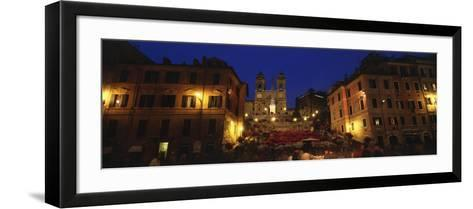 Buildings Lit Up at Night in a City, Spanish Steps, Trinita Dei Monti, Rome, Italy--Framed Art Print
