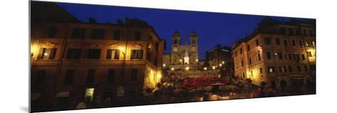 Buildings Lit Up at Night in a City, Spanish Steps, Trinita Dei Monti, Rome, Italy--Mounted Photographic Print