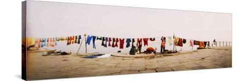 Hanging Clothes Out to Dry after Washing Them in the River, Ganges River, Varanasi, Uttar Pradesh, --Stretched Canvas Print