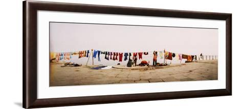 Hanging Clothes Out to Dry after Washing Them in the River, Ganges River, Varanasi, Uttar Pradesh, --Framed Art Print