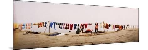 Hanging Clothes Out to Dry after Washing Them in the River, Ganges River, Varanasi, Uttar Pradesh, --Mounted Photographic Print