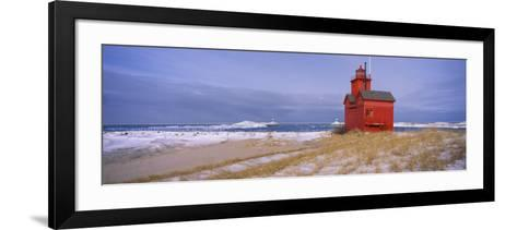 Lighthouse at the Lakeside, Big Red Lighthouse, Lake Michigan, Holland, Michigan, USA--Framed Art Print