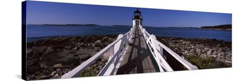 Lighthouse on Coast, Marshall Point Lighthouse, Built 1832, Rebuilt 1858, Port Clyde, Maine, USA--Stretched Canvas Print