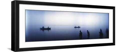 People Taking a Ritual Dip in a River, Ganges River, Varanasi, Uttar Pradesh, India--Framed Art Print