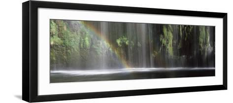 Rainbow Formed in Front of Waterfall in a Forest, Near Dunsmuir, California, USA--Framed Art Print