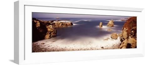 Rock Formations at the Coast, Moonlight Exposure, Big Sur, California, USA--Framed Art Print