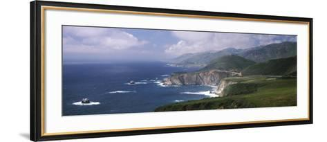 Rock Formations on the Beach, Bixby Bridge, Pacific Coast Highway, Big Sur, California, USA--Framed Art Print