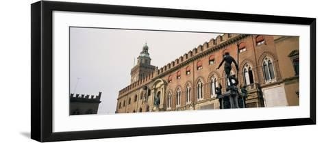 Statue in Front of Palace, Fountain of Neptune, Palazzo D'Accursio, Piazza Maggiore, Bologna, Italy--Framed Art Print