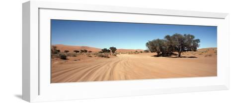 Tire Tracks in an Arid Landscape, Sossusvlei, Namib Desert, Namibia--Framed Art Print