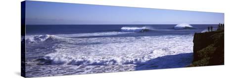 Tourist Looking at Waves in the Sea, Santa Cruz, Santa Cruz County, California, USA--Stretched Canvas Print