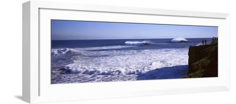 Tourist Looking at Waves in the Sea, Santa Cruz, Santa Cruz County, California, USA--Framed Art Print