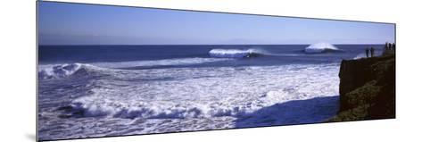 Tourist Looking at Waves in the Sea, Santa Cruz, Santa Cruz County, California, USA--Mounted Photographic Print