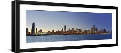 Shedd Acquarium and Chicago Skyline at Dusk, Chicago, Illinois, USA-Michele Falzone-Framed Art Print