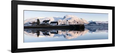 Corpach Lighthouse on Loch Eil with Ben Nevis and Fort William in the Background, Highland Region, -Nadia Isakova-Framed Art Print