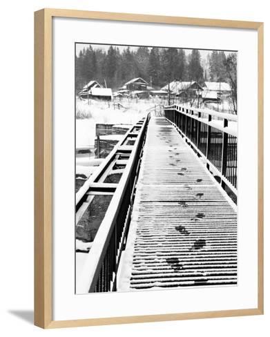 Footprints on the Bridge, Somino Village, Leningrad Region, Russia-Nadia Isakova-Framed Art Print